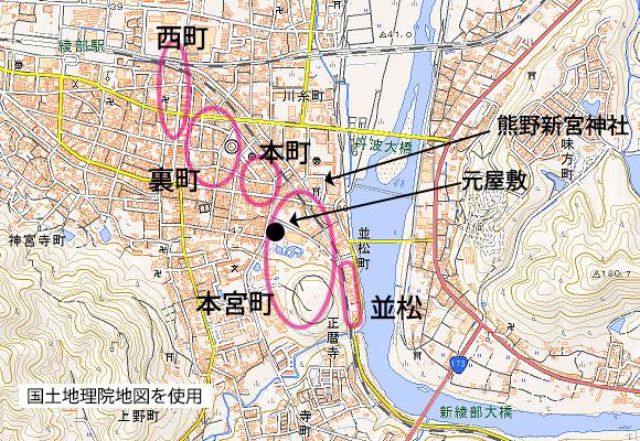 綾部中心部の地図