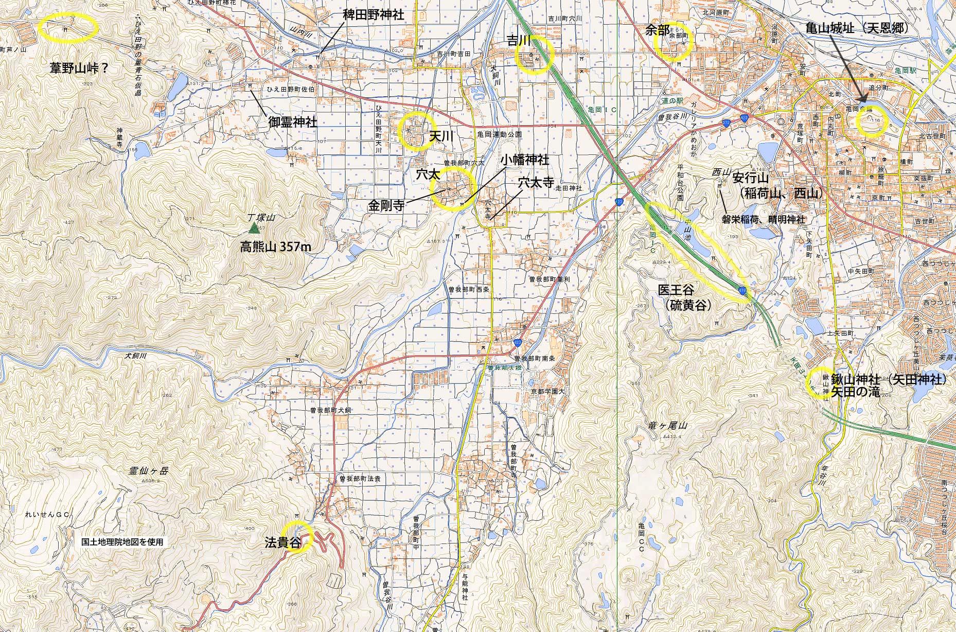 亀岡の地図
