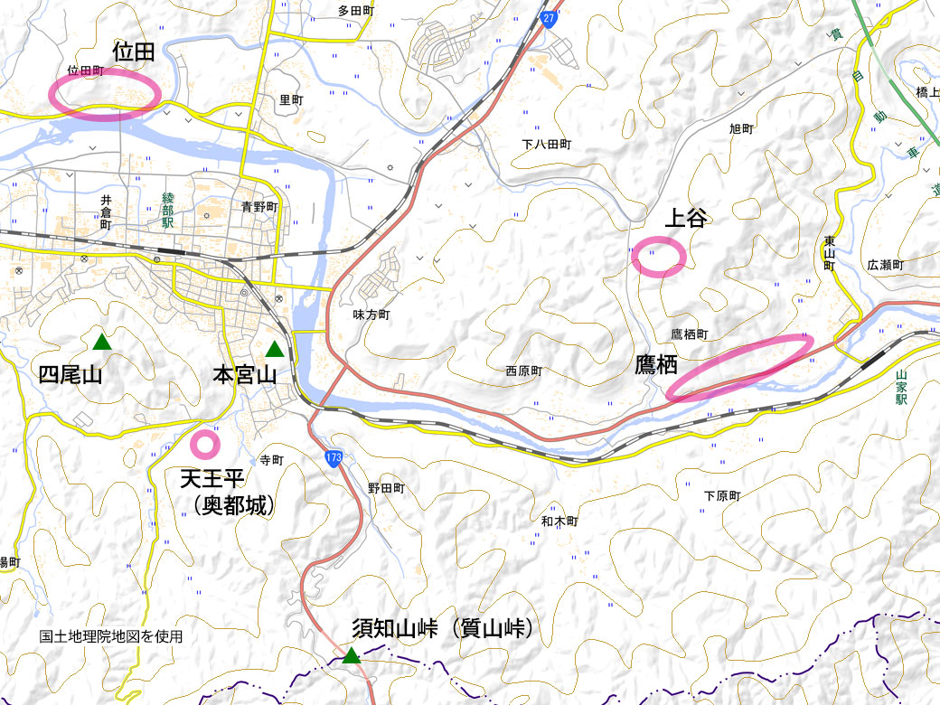 綾部の地図
